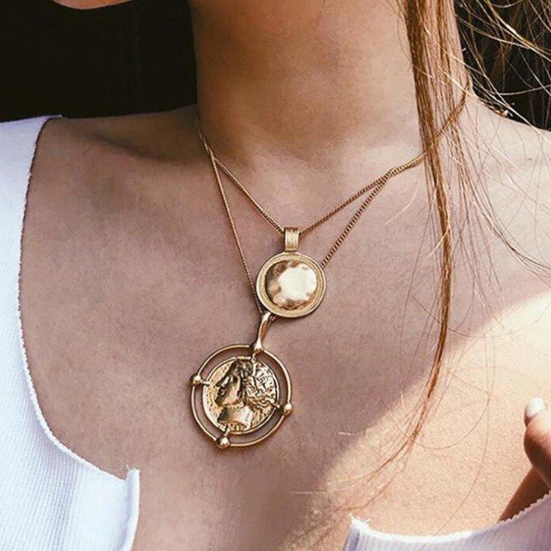 Vintage Geometric Pendant Multi-layer Necklace Face Emboss Long Necklace Punk Jewelry
