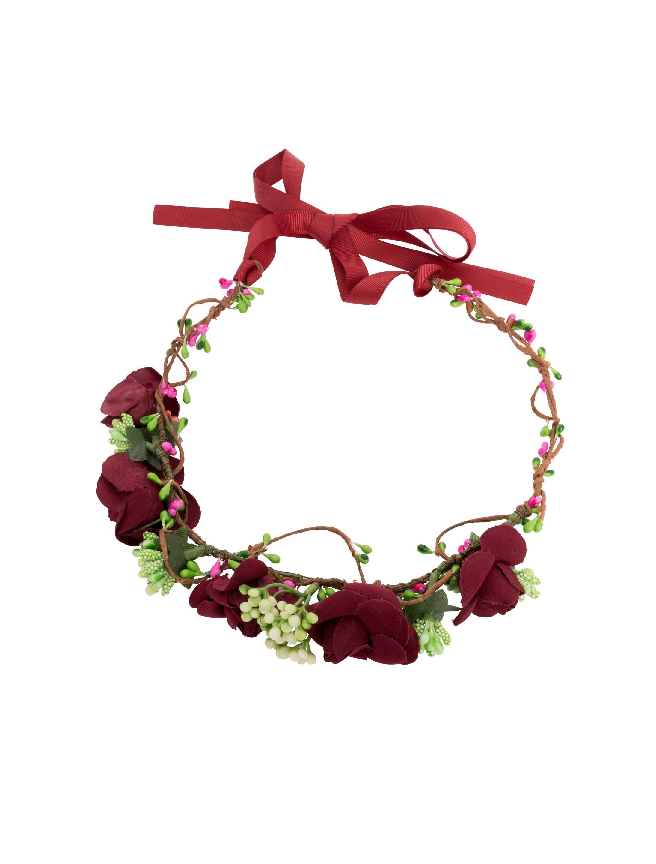 Blumenhaarkranz Rosen dunkelrot