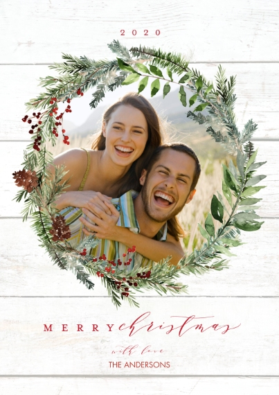 Christmas Photo Cards Flat Glossy Photo Paper Cards with Envelopes, 5x7, Card & Stationery -2020 Christmas Wreath Berries by Tumbalina