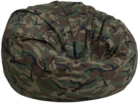 DGBEAN Collection DG-BEAN-LARGE-CAMO-GG Oversized Bean Bag with Portable Lightweight Design  Contemporary Style  Safety Metal Zipper  Machine