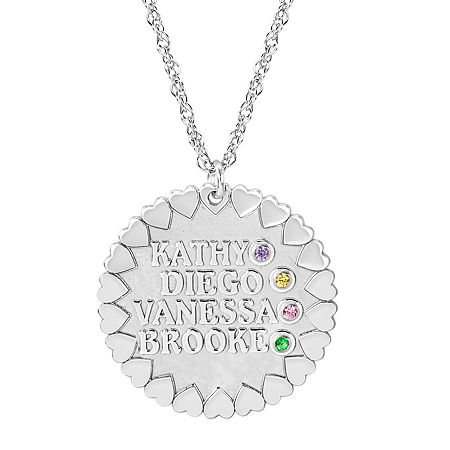 Personalized Child Name Birthstone Cubic Zirconia Pendant Necklace, One Size , White