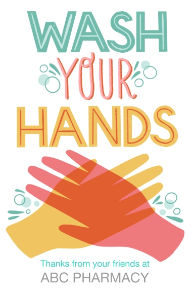 COVID-19 24x36 Adhesive Poster, Home Décor -Wash Your Hands