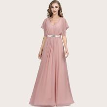 Kleid mit Strass Detail, gesammelter Taille und Fledermausaermeln