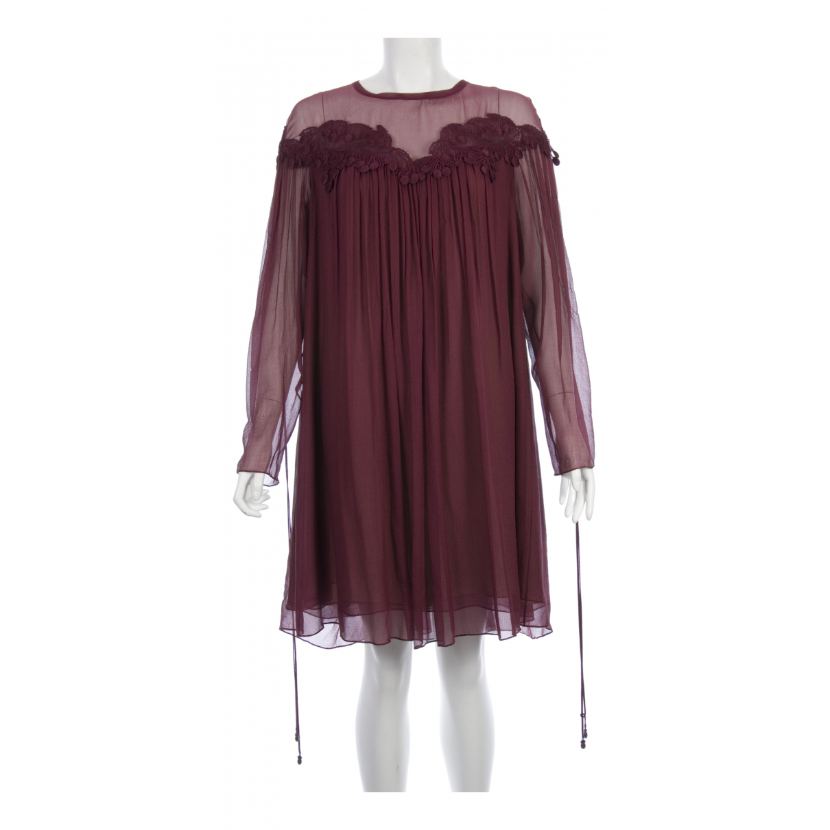 Chloe \N Kleid in  Bordeauxrot Seide