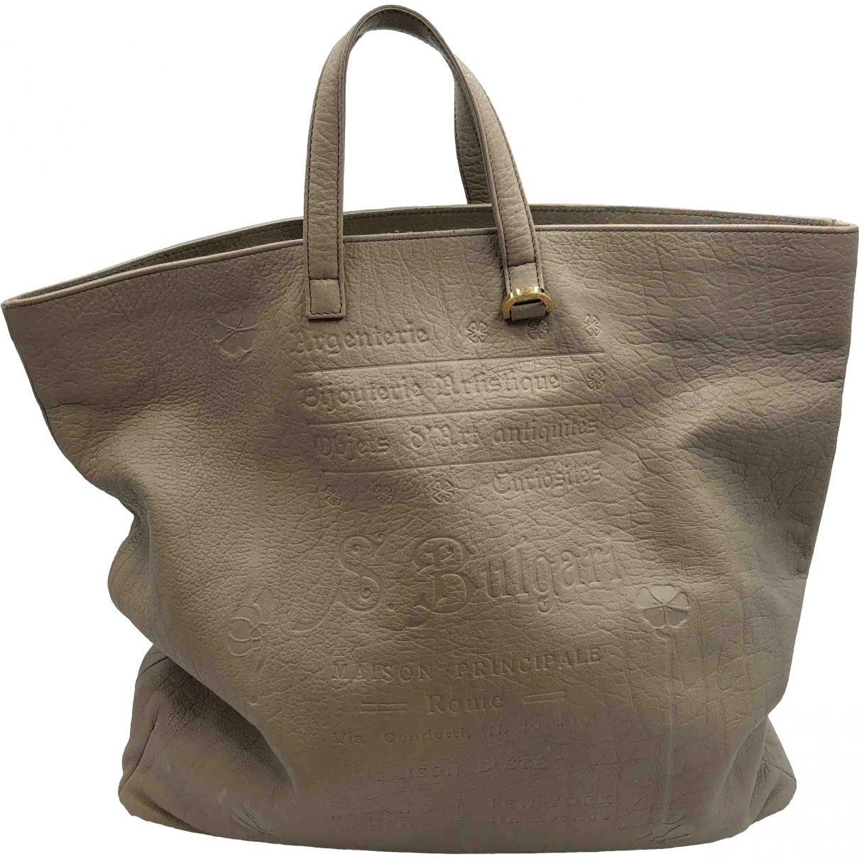 Bvlgari - Sac a main   pour femme en cuir - gris