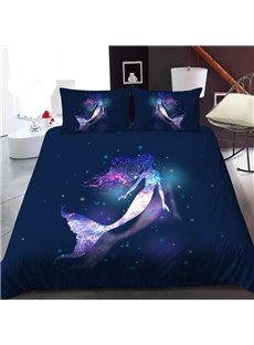 Mermaid In The Galaxy 3D Printed Polyester 1-Piece Warm Quilt