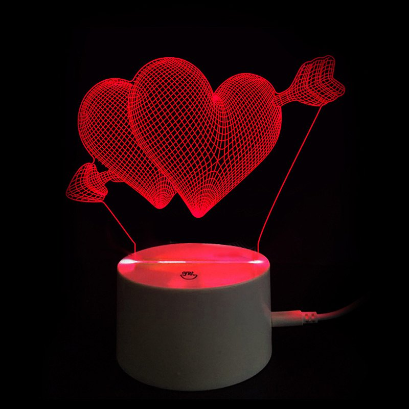 Valentine's Day Gift Touch Switch Arrow through Double Hearts LED Night Light