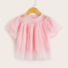 Toddler Girls Dobby Mesh Frill Trim Blouse