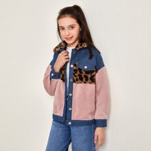 Girls Leopard Faux Fur Collar Buttoned Front Teddy Panel Jacket