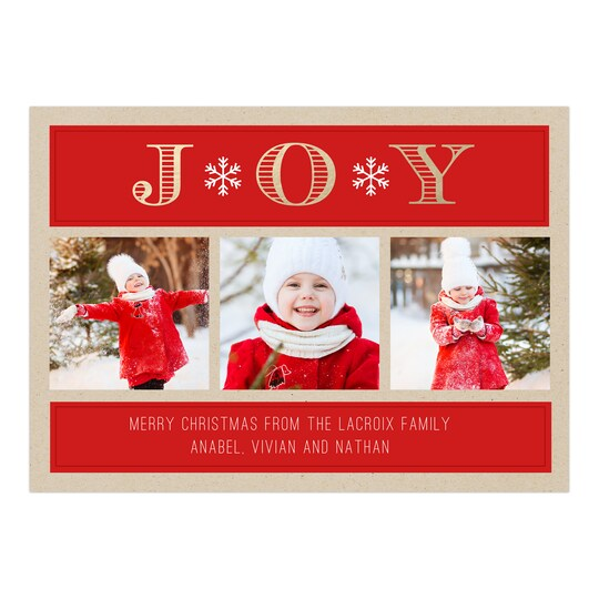 20 Pack of Gartner Studios® Personalized Joyful Light Christmas Flat Foil Photo Card in Red | 5