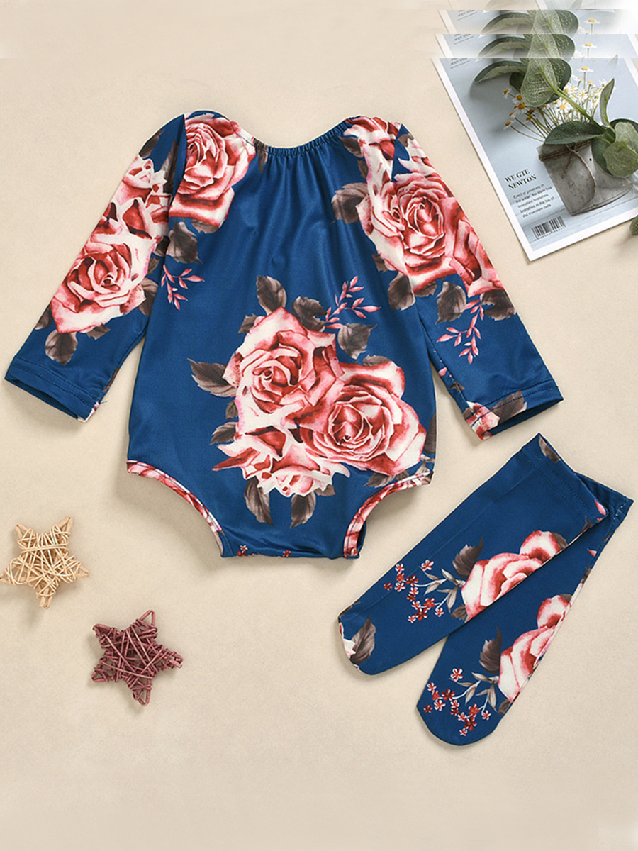 LW lovely Casual O Neck Plants Print Deep Blue Girl Two-piece Pants Set