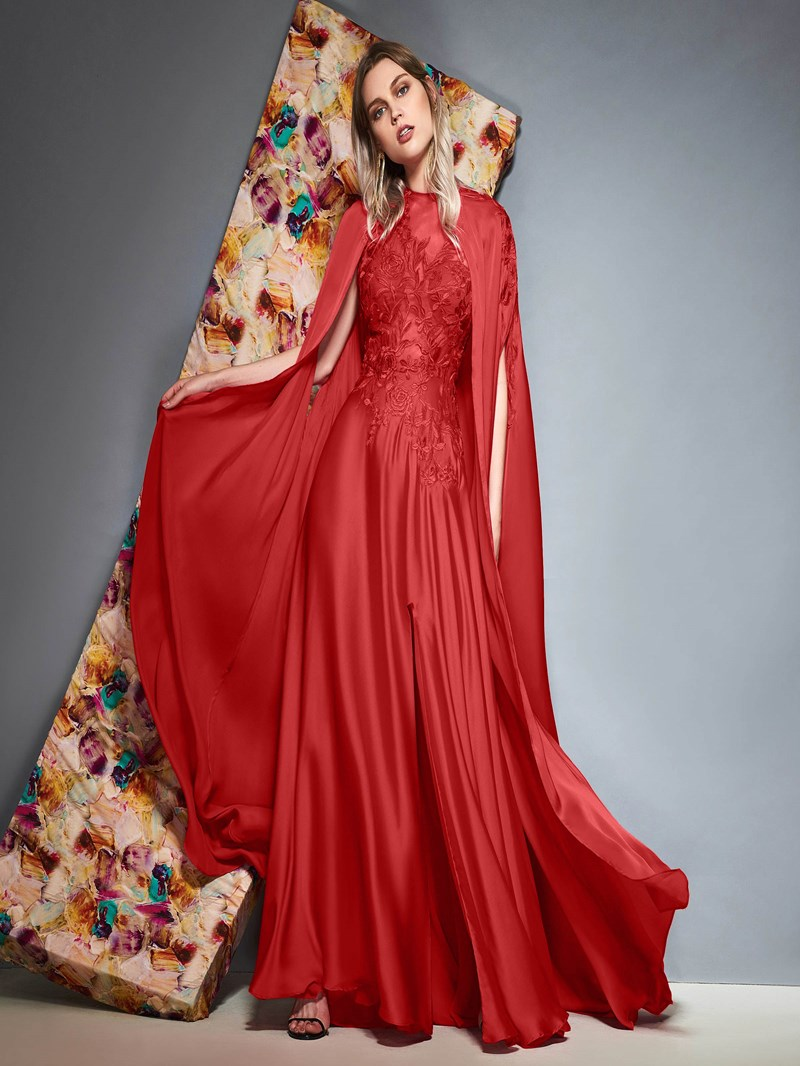 Ericdress Split-Front Appliques Evening Dress with Cape