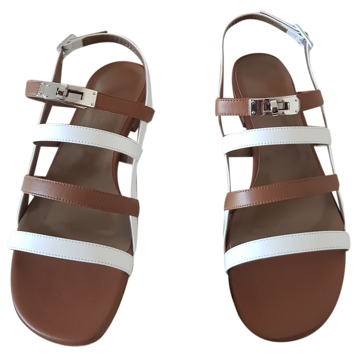 Hermès Transat White Leather Sandals for Women 39.5 EU