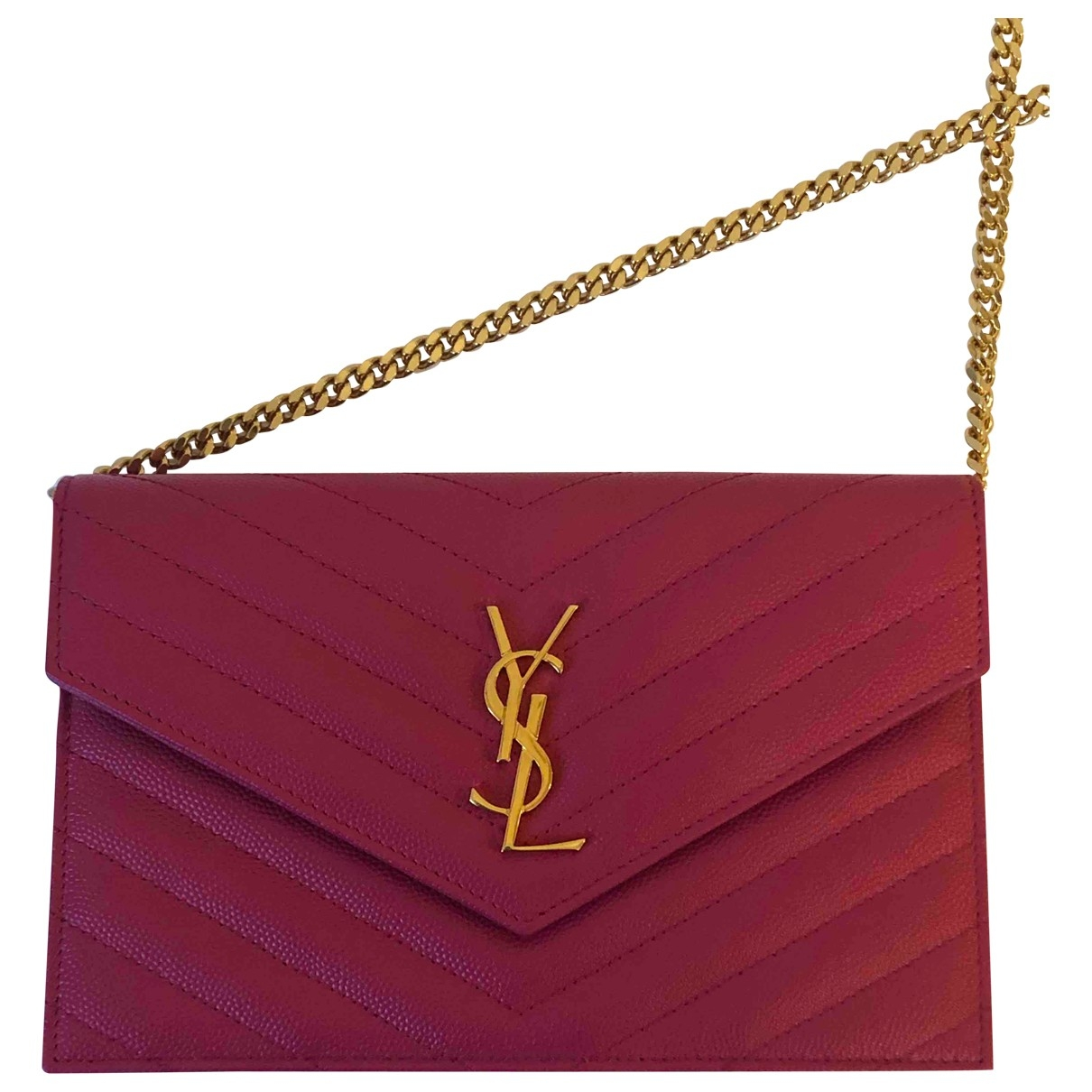 Saint Laurent Portefeuille enveloppe monogram Pink Leather handbag for Women \N