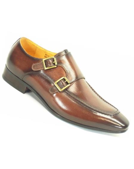 Chestnut Men's Calfskin Leather Loafer Shoes With Double Monk Strap
