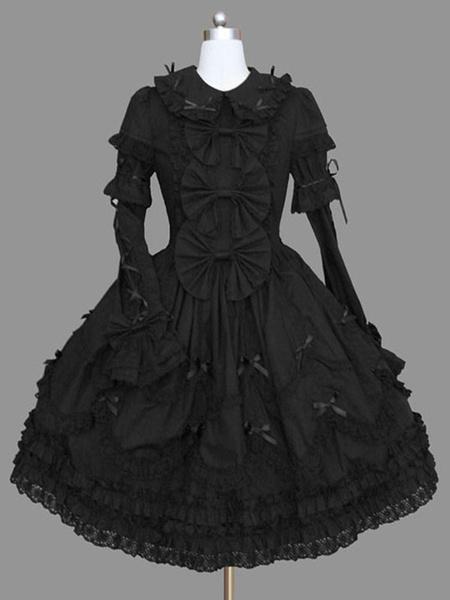 Milanoo Gothic Lolita Long Sleeve Casual Dress Cotton Blend Lolita Dress