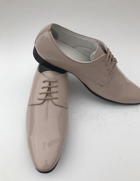 Men's Plain Toe Lace Up Style Taupe formal Shiny Tuxedo Dress Shoes