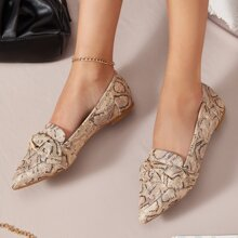 Faux Snakeskin Leather Bow Accent Flats