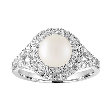 Womens Cultured Freshwater Pearl & Lab-Created White Sapphire Sterling Silver Cocktail Ring, 7 , No Color Family