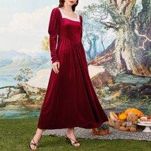 Velvet Contrast Lace Leg-of-mutton Zipper Back Dress