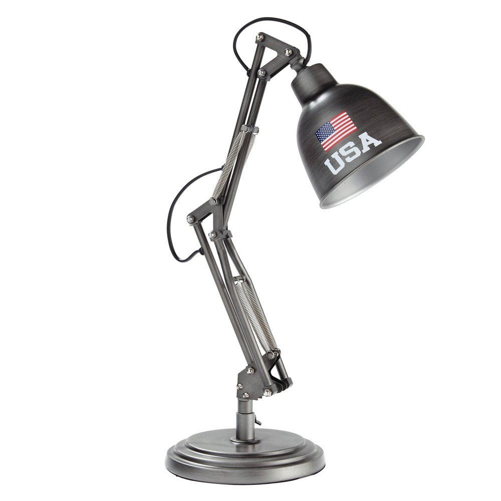 Schreibtischlampe im Industrial-Stil aus grauem Metall