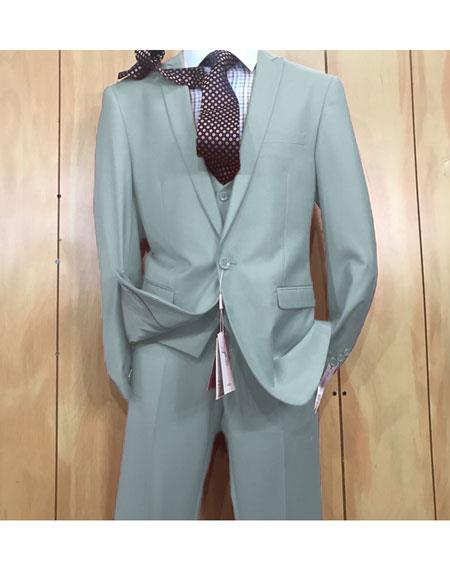 Mens Light Blue 1 button style Peak Lapel Vested Slim fitted Suit