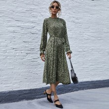 Flounce Sleeve Self Tie Allover Print Midi Dress