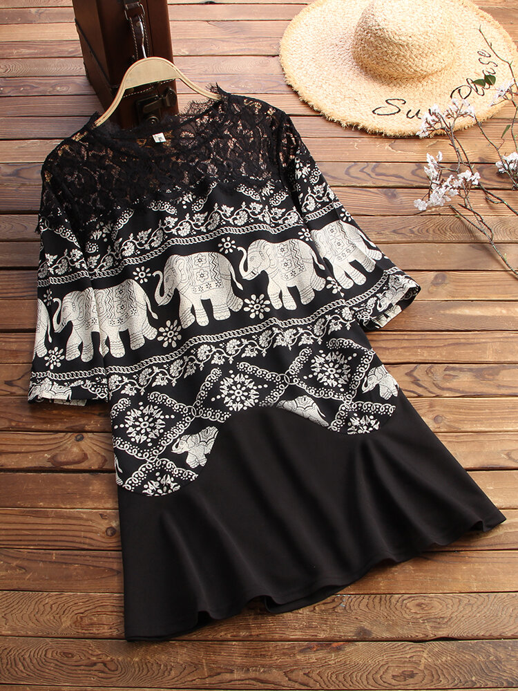 Lace Patchwork Ethnic Print 3/4 Sleeve Vintage Blouse For Women