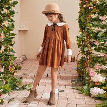 Toddler Girl Peter Pan Collar Bow Neck Babydoll Dress