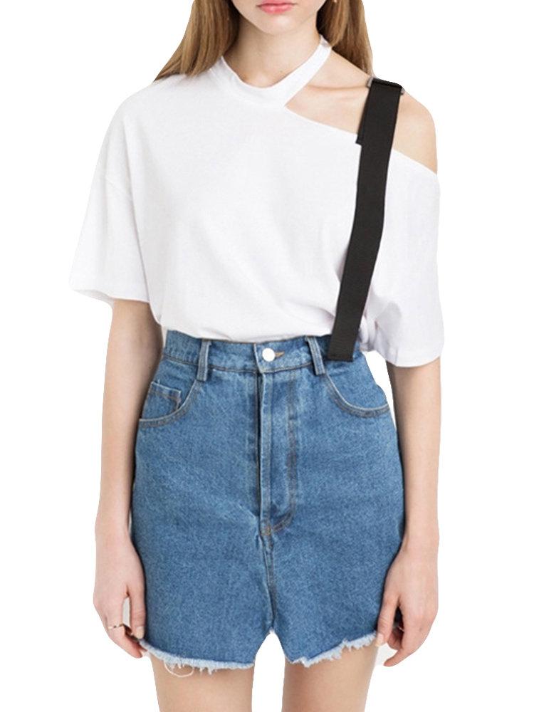 Solid Color Off-shoulder Halter Collar T-shirts