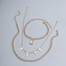 3 Stuecke Maenner Halskette mit Verschluss & Schluessel Anhaenger
