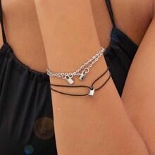 2 Stuecke Lock Charm Chain & String Armband