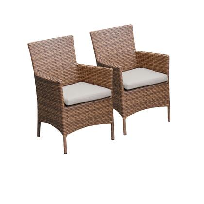 TKC093b-DC-BEIGE 2 Laguna Dining Chairs With Arms with 2 Covers: Wheat and