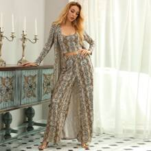 Snakeskin Print Top & Pants Set With Belted Coat