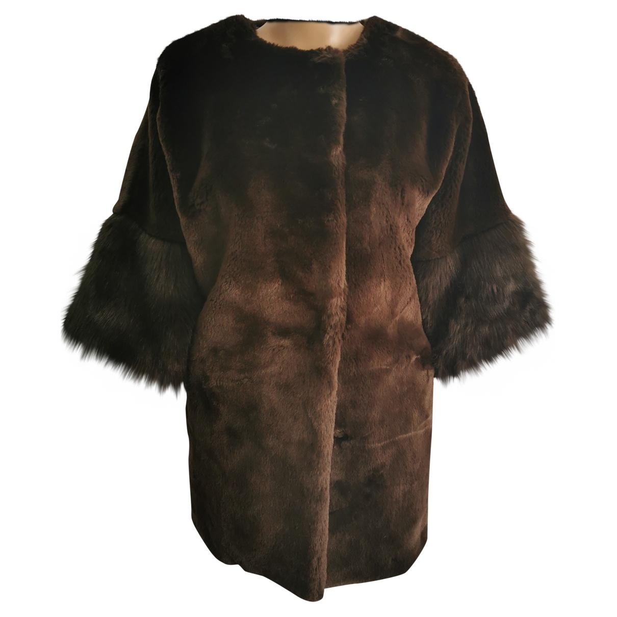 Blf - Manteau   pour femme en fourrure synthetique - marron