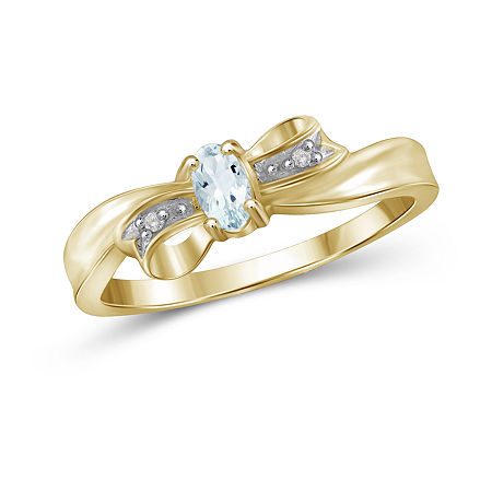 Womens Diamond Accent Genuine Blue Aquamarine 14K Gold Over Silver Delicate Cocktail Ring, 7 , No Color Family