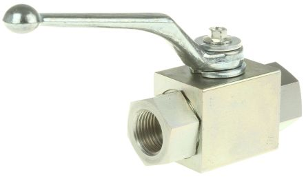 RS PRO Zinc Passivated Steel Line Mounting Hydraulic Ball Valve G 1/2