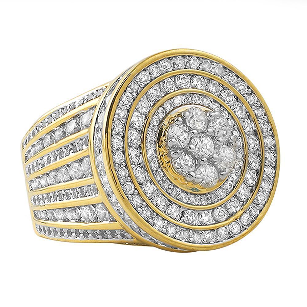 Jumbo Cluster Gold CZ Bling Bling Ring