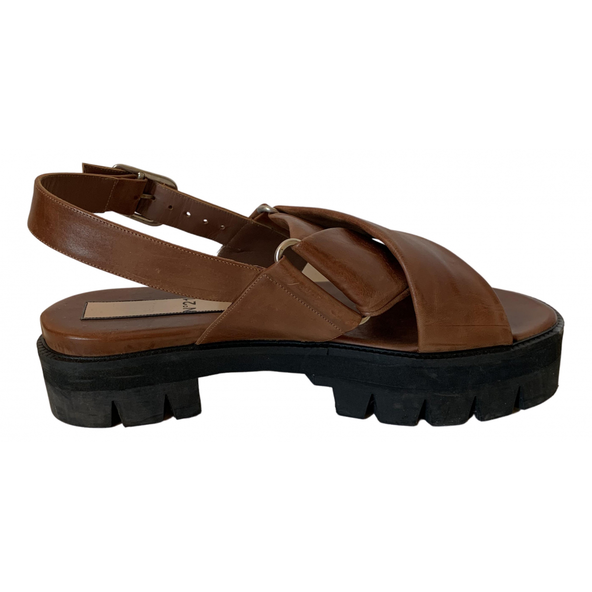 N°21 N Brown Leather Sandals for Women 38 EU