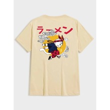 Men Japanese Letter And Cartoon Print Tee