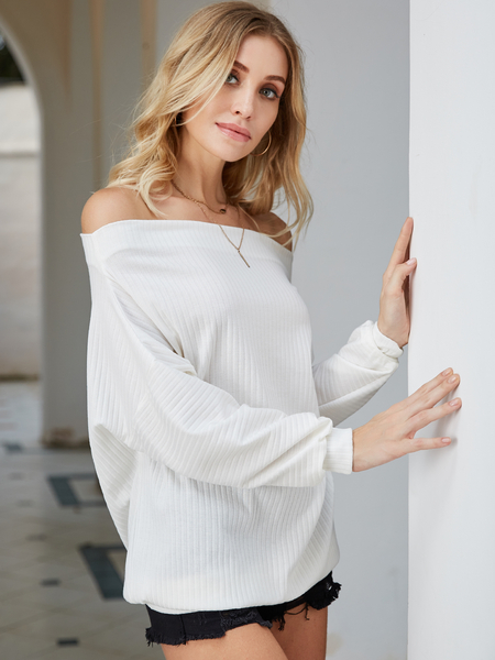 Yoins White Off The Shoulder Knit Top