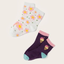 2 Paare Socken mit Blumen Muster