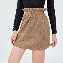 Faldas Cintura con volante Liso Casual
