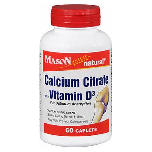 Mason Calcium Citrate Caplets With Vitamin D 60 tabs by Mason