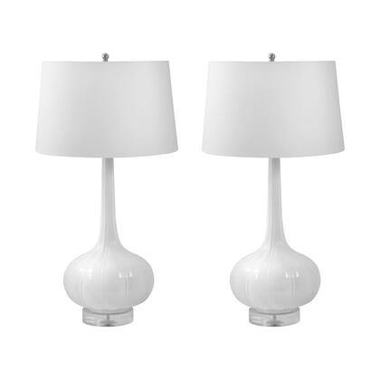 242/S2 Del Mar Porcelain Table Lamp  In White (Set Of