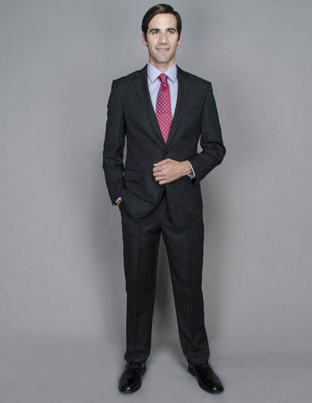Men's Stripe Wool Silk Single Breasted Giorgio Fiorelli Brsuits