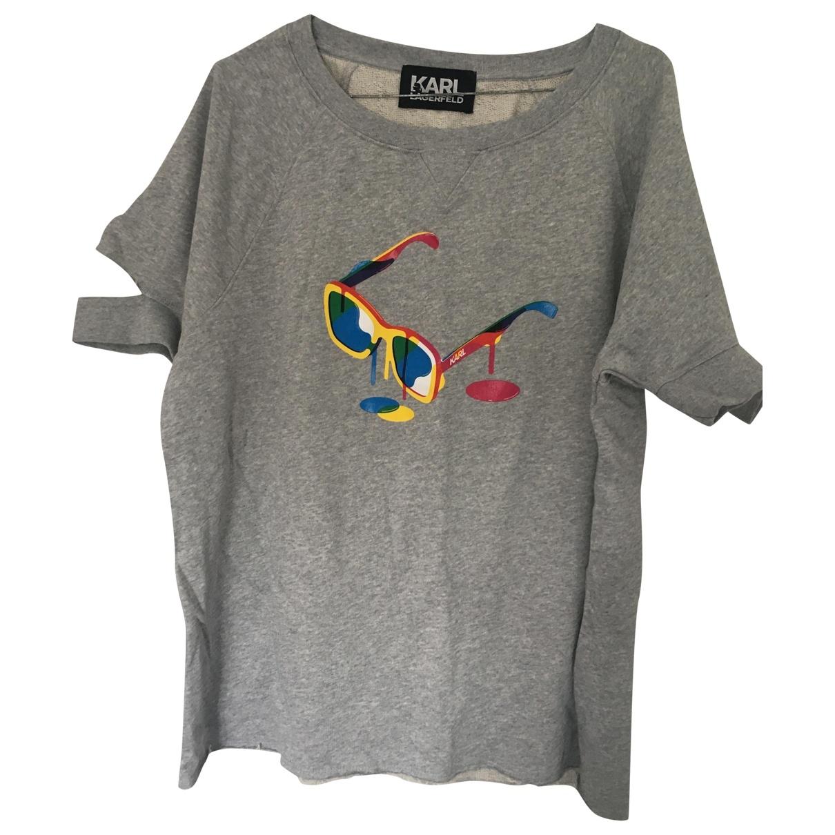 Karl Lagerfeld - Top   pour femme en coton - gris