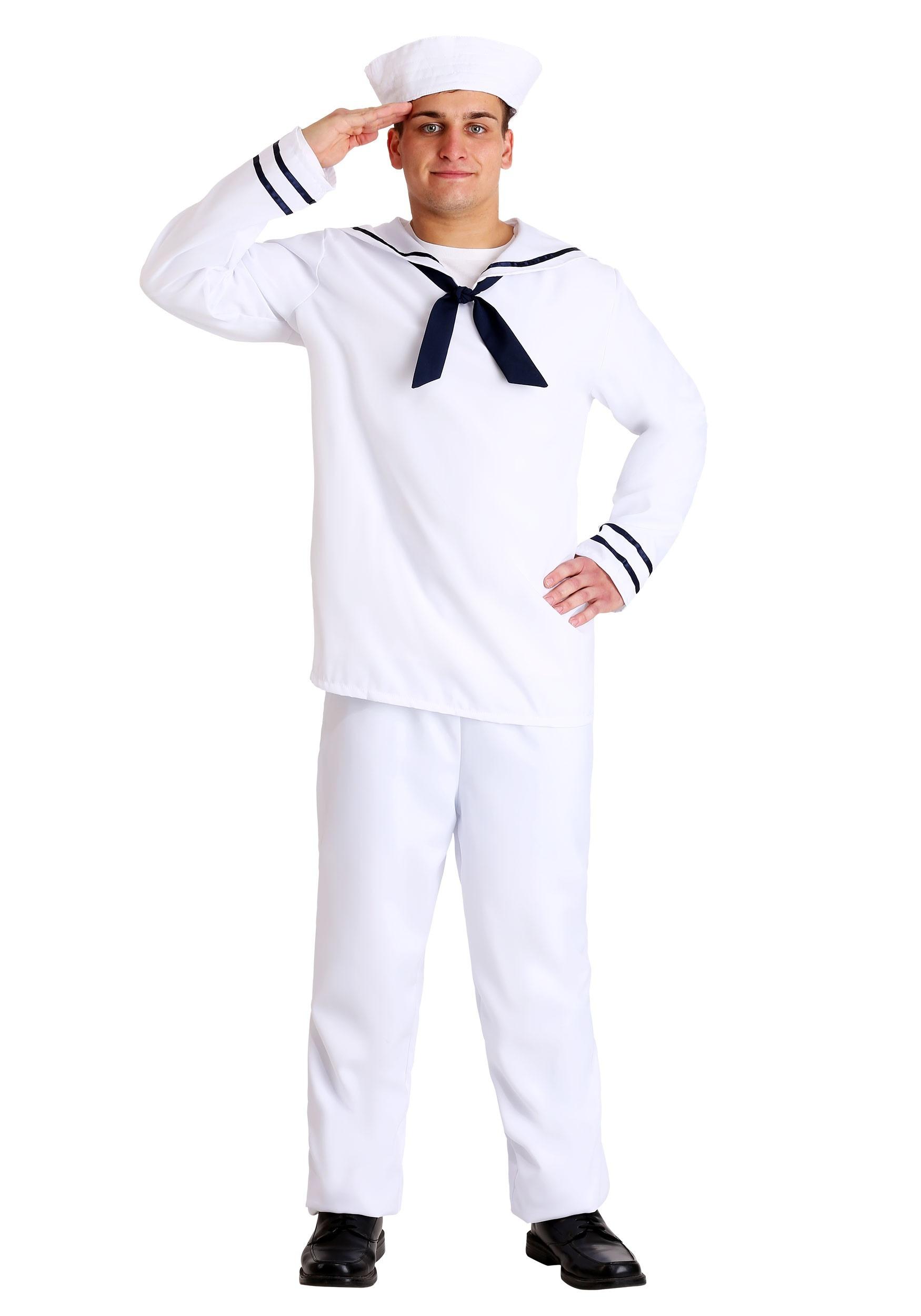 White Sailor Men's Costume