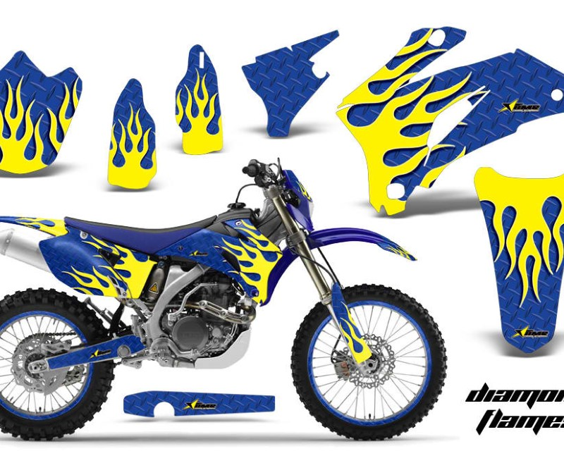 AMR Racing Graphics MX-NP-YAM-WR250F-07-14-WR450F-07-11-DF Y U Kit Decal Wrap + # Plates For Yamaha WR250F 2007-2014 WR450F 2007-2011áDIAMOND FLAMES Y