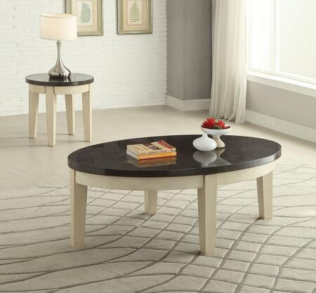 Faymoor 81755CE 2 PC Living Room Table Set with Coffee Table + End Table in Antique White